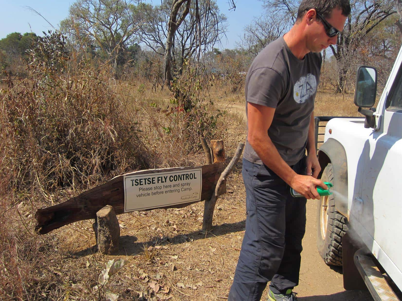 In the Kafue National Park in Zambia, visitors are encouraged to spray their vehicles before they enter a camp.