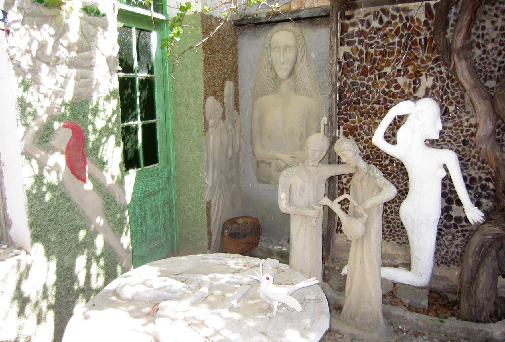 Beautiful sculptures on the back patio.