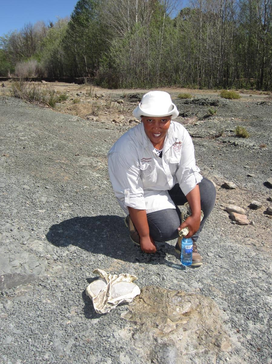 A guide points out a fossil that is still buried in the Gats Riverbed.