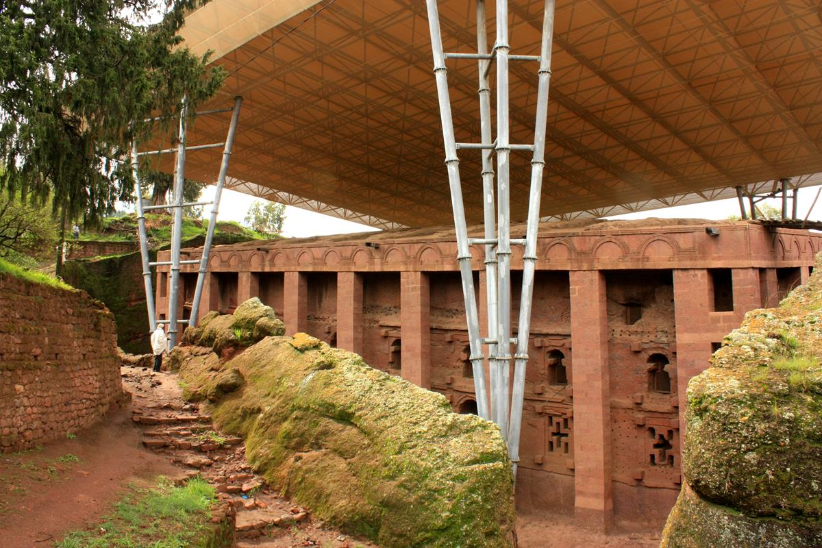 Some of the Lalibela churches are protected against the elements by modern structures.