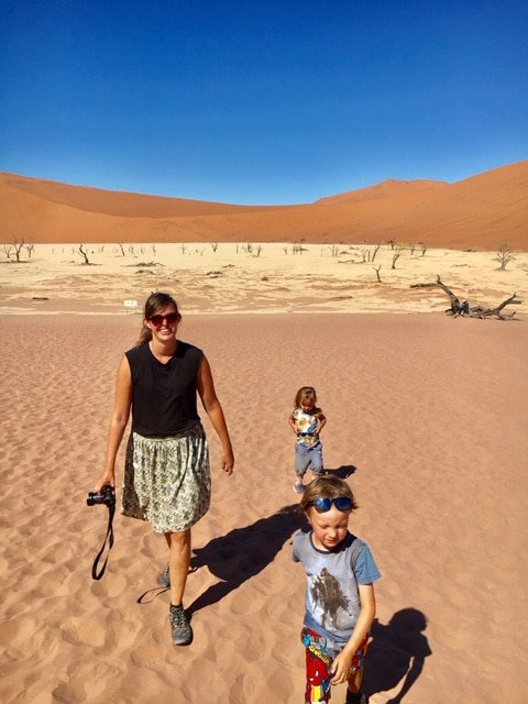 Ida and her kids in sossusvlei