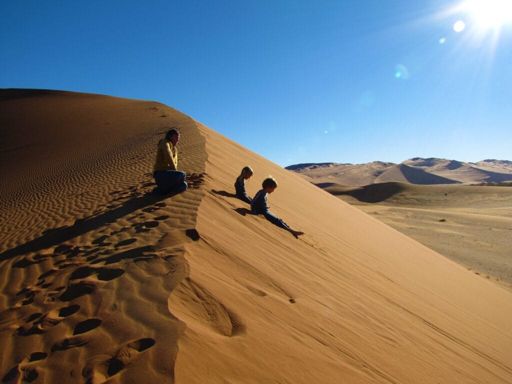 Sliding down the Sossusvlei dunes