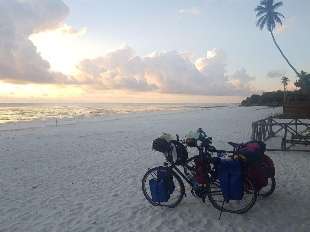 Bikes on a beach in Zanzibar