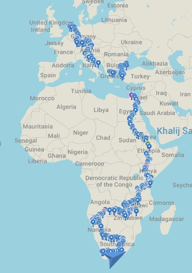 The couple's route from Amsterdam to Cape Town