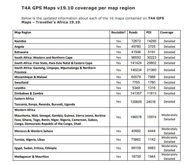 GPS map update 19.10 - map coverage per map region