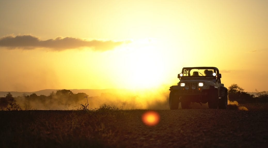 Jeep at sunset