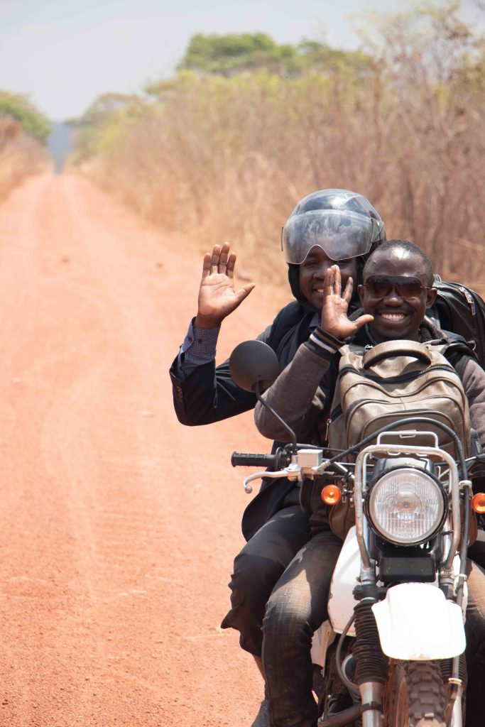Driving on a motorcycle in Zambia